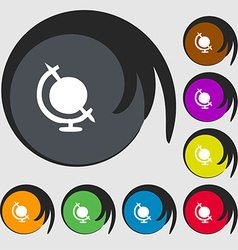 icon world sign Symbols on eight colored buttons vector image