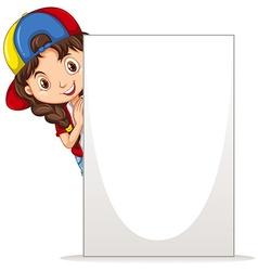Little girl holding white board vector image