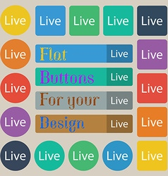 Live sign icon set of twenty colored flat round vector