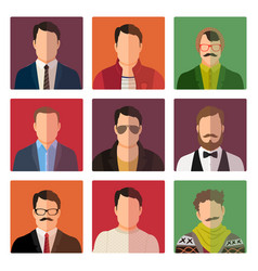 male avatar icons in casual style vector image