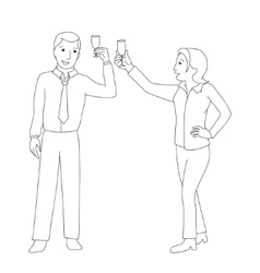 Man and woman clink champagne glass vector
