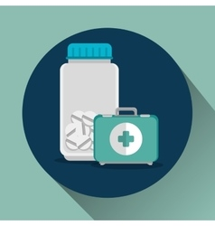 medicine bottle and kit vector image vector image