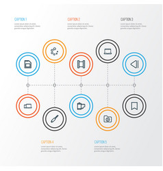 multimedia outline icons set collection of media vector image vector image
