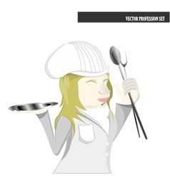 Profession set chef female cartoon vector