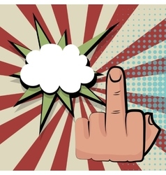 Provocative middle finger comic retro pop art vector