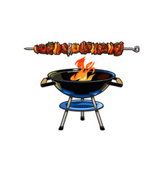 Round barbecue bbq charcoal grill burning flame vector