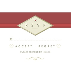 Rsvp wedding card red and gold ribbon theme vector