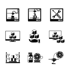 Set of 3D Printing icons - printers pc with 3d vector image vector image