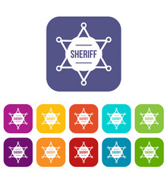 Sheriff badge icons set vector