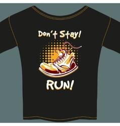 Shoe Design on Black T-Shirt vector image