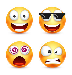 smiley with pixel glassessmiling emoticon yellow vector image