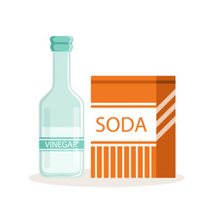 Soda in a craft paper bag and glass bottle of vector