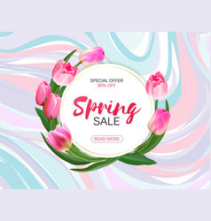 Spring sale background with realistic vector