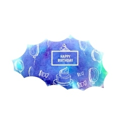 Watercolor greeting background happy birthday text vector