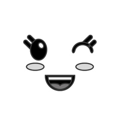 Kawaii happy wink facial expression icon vector