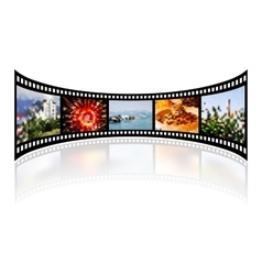 Film strip with reflection on white vector