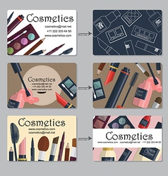 Makeup artist business card set of cosmetics for vector
