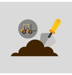 excavator wheeled construction spatula design vector image