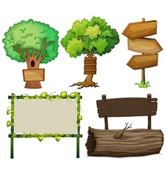 Different design of signs made of wood vector image