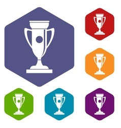 Winning cup icons set vector