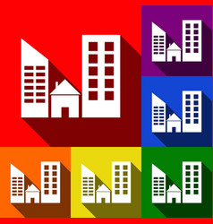 Real estate sign  set of icons with flat vector