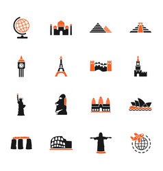 Travel and wonders icon set vector