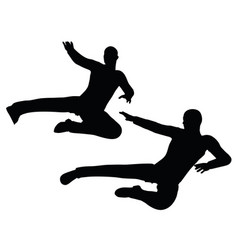 Businessman flying kick on white background vector