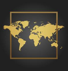 Golden political world map in black background vector