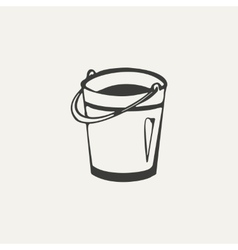 Bucket black and white style vector