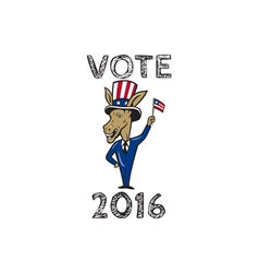 Vote 2016 democrat donkey mascot flag cartoon vector