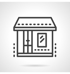 Market storefronts black line icon vector