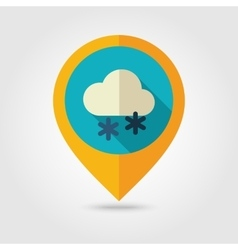 Cloud with snow flat pin map icon weather vector