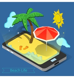 Beach vacation summer time tropical vacation vector