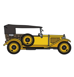Vintage yellow convertible vector