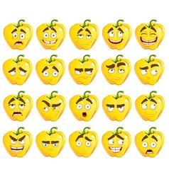 cute cartoon yellow Bulgarian pepper smiles vector image