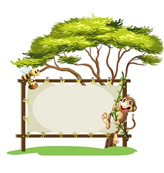 A monkey and the bee beside the empty signage vector image