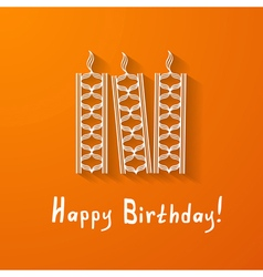 birthday card with paper candles vector image vector image