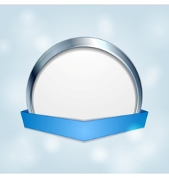 Blank circle frame with blue ribbon vector image
