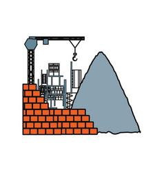 bricks and tower crane vector image