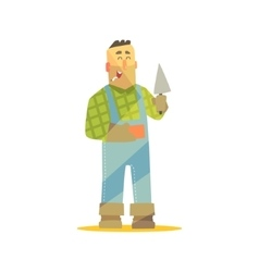 Builder with brick and trowel on construction site vector