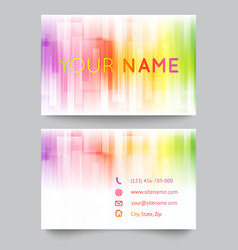 Business card template abstract bright rainbow on vector image vector image
