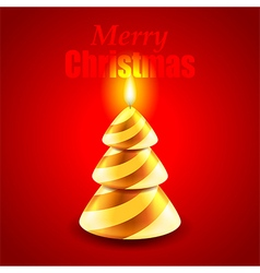 Candle as Christmas tree holiday concept vector image