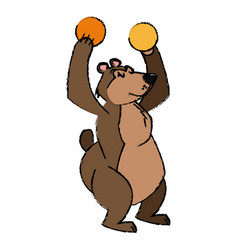 Circus bear animal show balls carnival vector