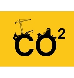 Co2 pollution in text with city vector