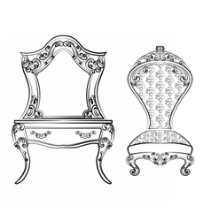 Dressing table and armchair vector image vector image