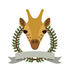 emblem giraffe hunter city icon vector image