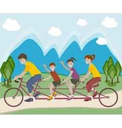 Family riding bicycle vector