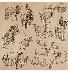 Farm animals hand drawn pack vector