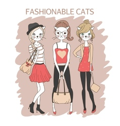 Fashion girls cats vector