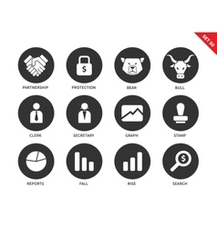Finance icons on white background vector image vector image